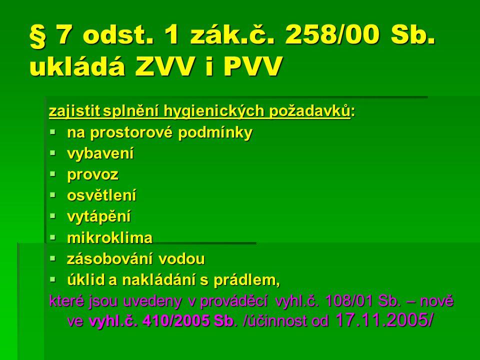§ 7 odst. 1 zák.č. 258/00 Sb. ukládá ZVV i PVV
