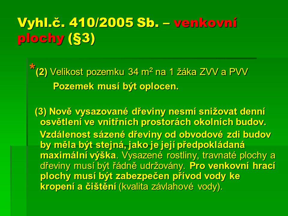 Vyhl.č. 410/2005 Sb. – venkovní plochy (§3)