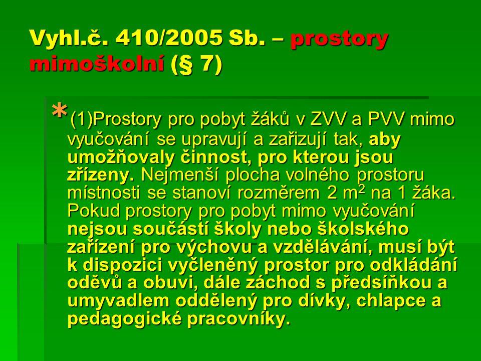 Vyhl.č. 410/2005 Sb. – prostory mimoškolní (§ 7)