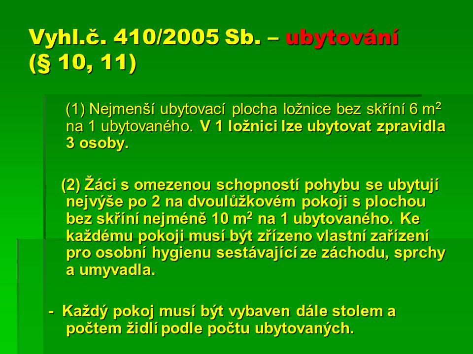 Vyhl.č. 410/2005 Sb. – ubytování (§ 10, 11)