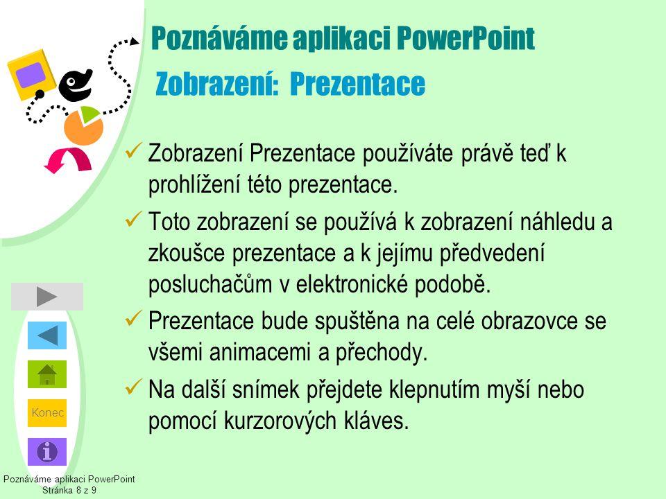 Poznáváme aplikaci PowerPoint Zobrazení: Prezentace