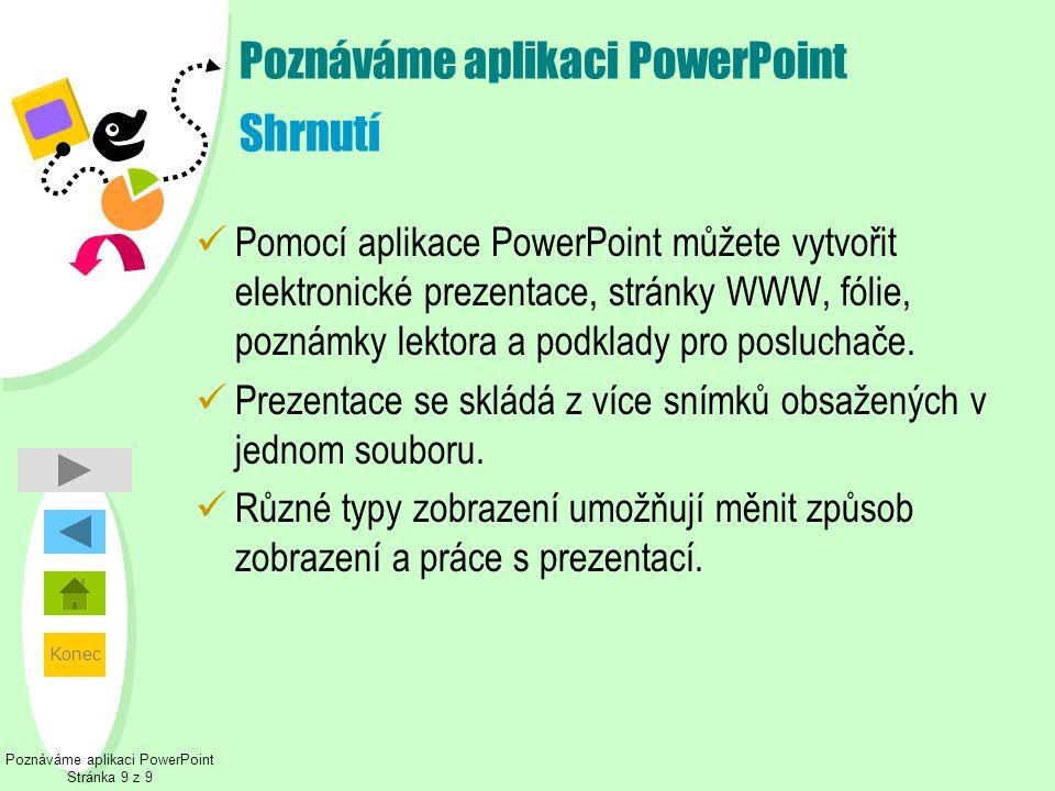 Poznáváme aplikaci PowerPoint Shrnutí