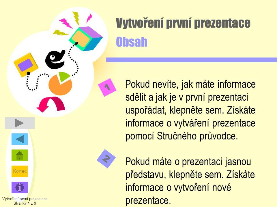 Vytvoření první prezentace Obsah