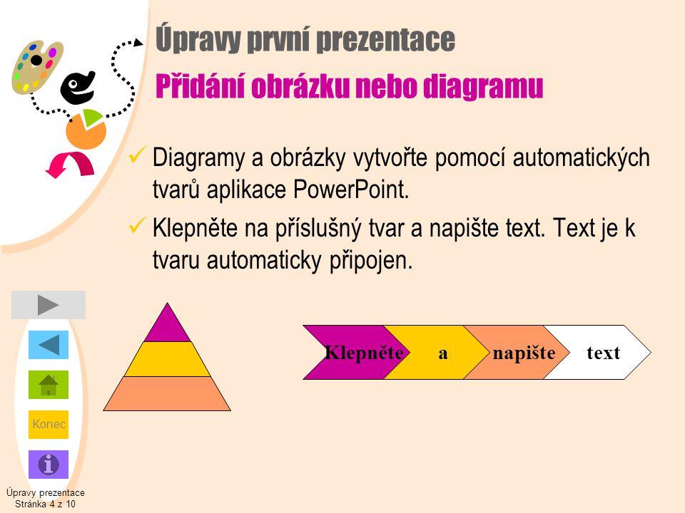 Úpravy první prezentace Přidání obrázku nebo diagramu