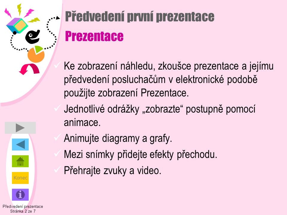 Předvedení první prezentace Prezentace