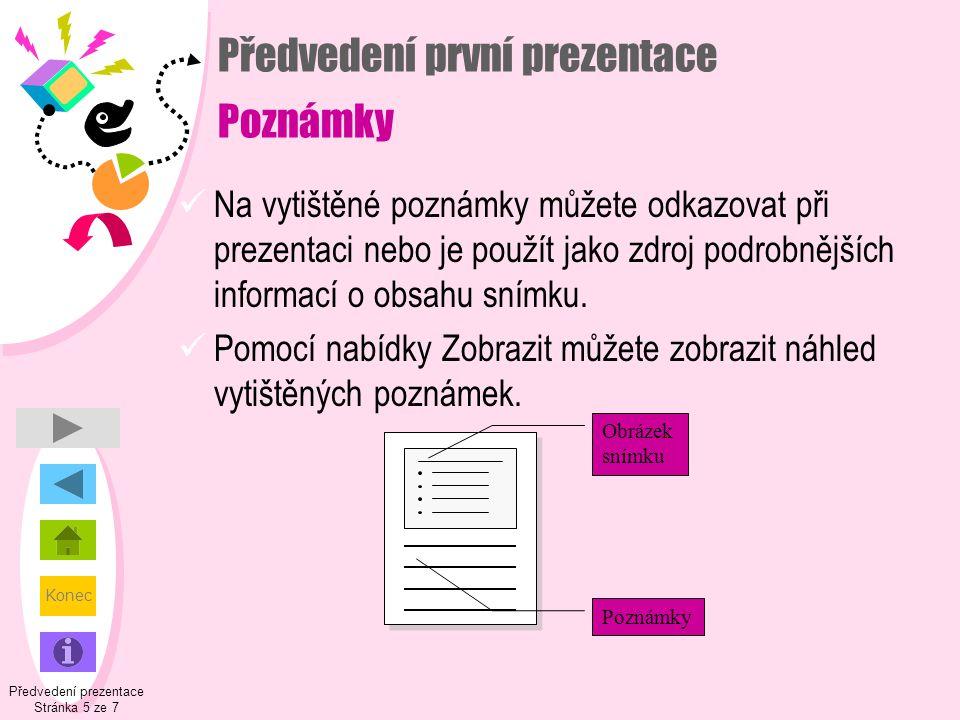 Předvedení první prezentace Poznámky