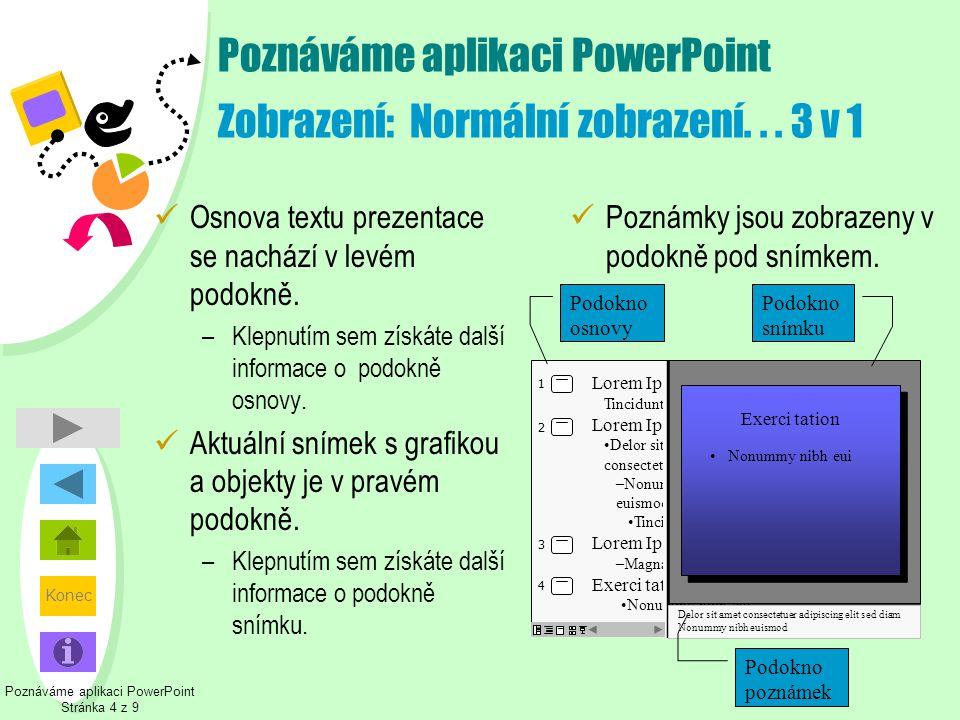 Poznáváme aplikaci PowerPoint Zobrazení: Normální zobrazení. . . 3 v 1