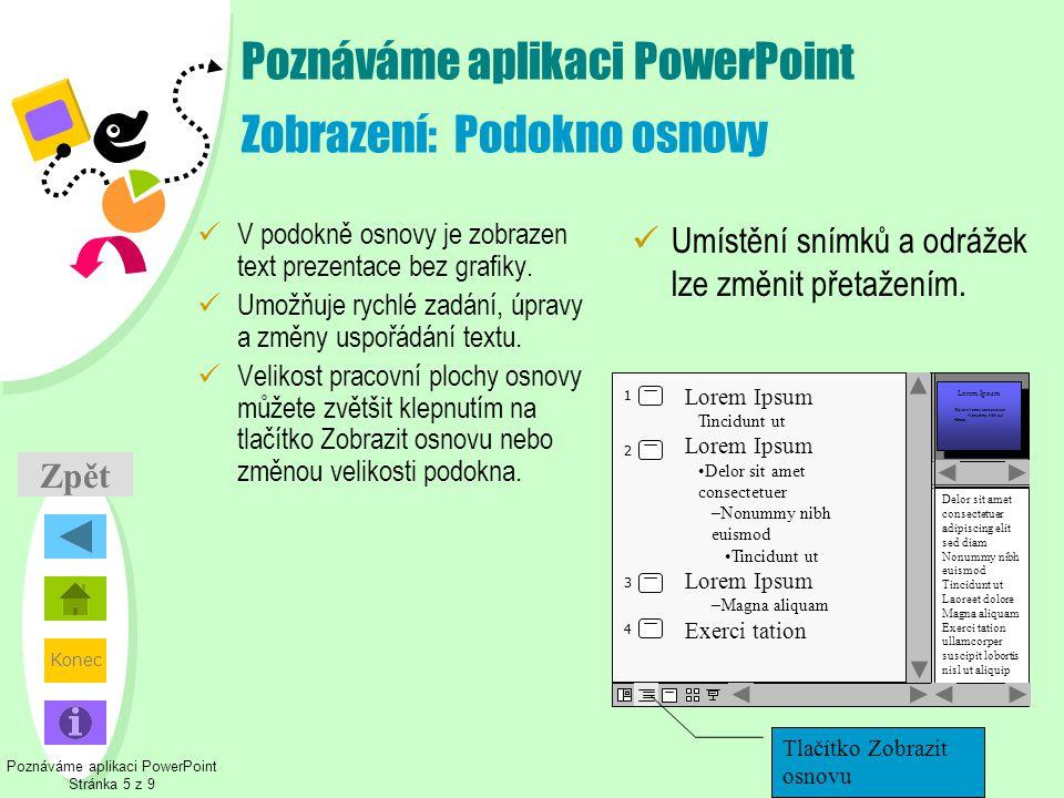 Poznáváme aplikaci PowerPoint Zobrazení: Podokno osnovy