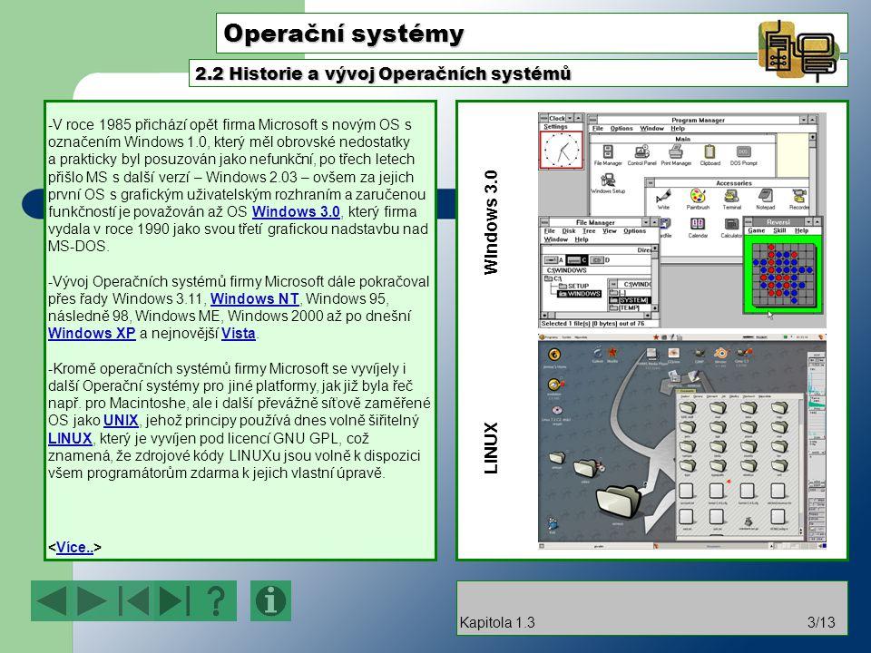 Operační systémy 2.2 Historie a vývoj Operačních systémů