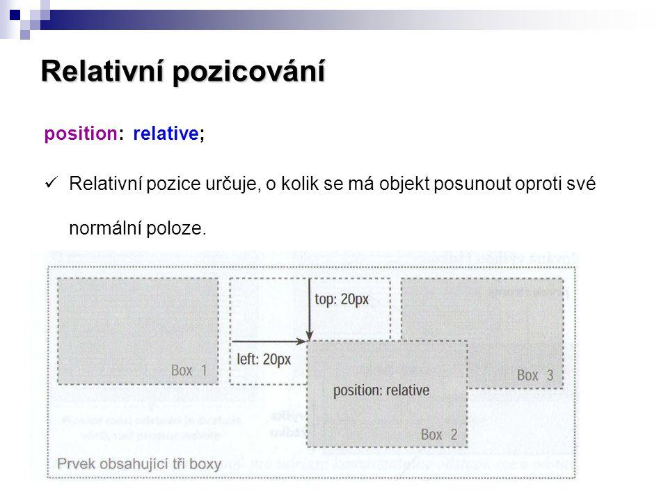 Relativní pozicování position: relative;