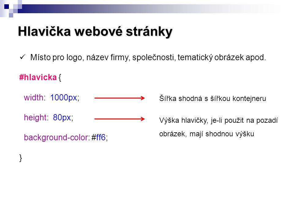 Hlavička webové stránky
