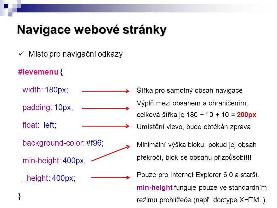 Navigace webové stránky