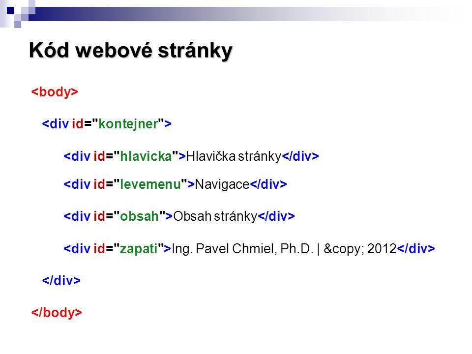 Kód webové stránky <body> <div id= kontejner >