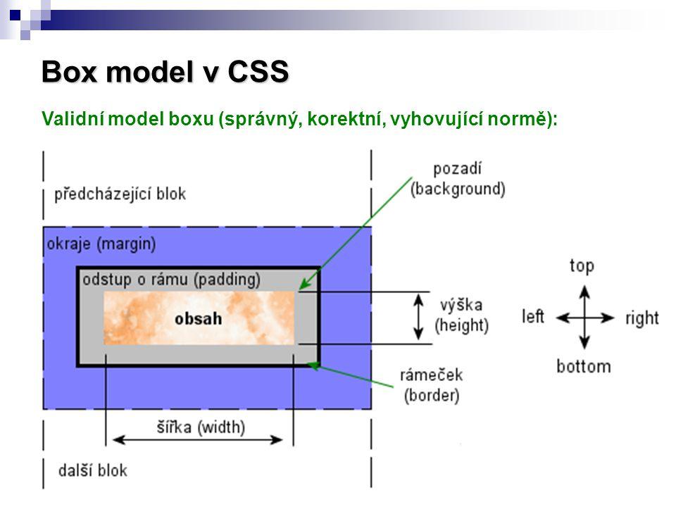 Box model v CSS Validní model boxu (správný, korektní, vyhovující normě):
