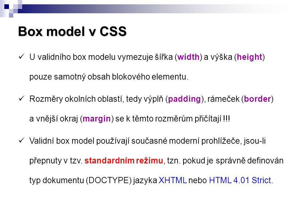 Box model v CSS U validního box modelu vymezuje šířka (width) a výška (height) pouze samotný obsah blokového elementu.