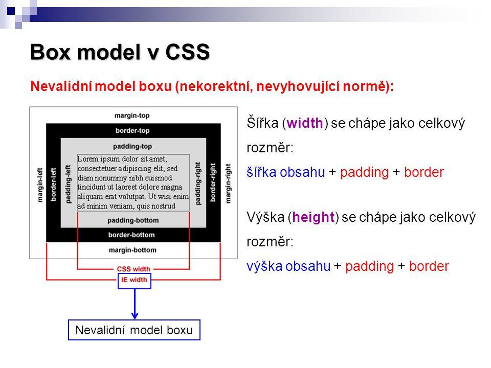 Box model v CSS Nevalidní model boxu (nekorektní, nevyhovující normě):
