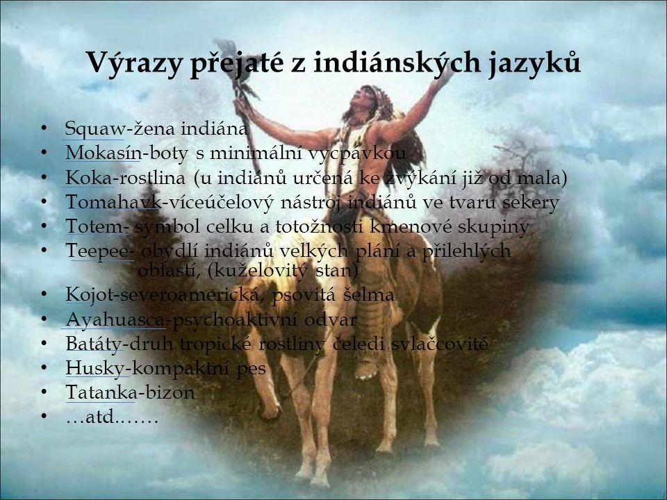 Výrazy přejaté z indiánských jazyků