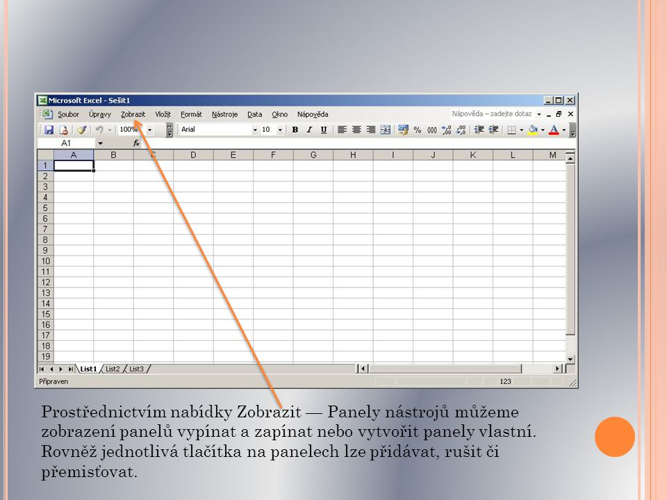 Prostřednictvím nabídky Zobrazit — Panely nástrojů můžeme zobrazení panelů vypínat a zapínat nebo vytvořit panely vlastní.