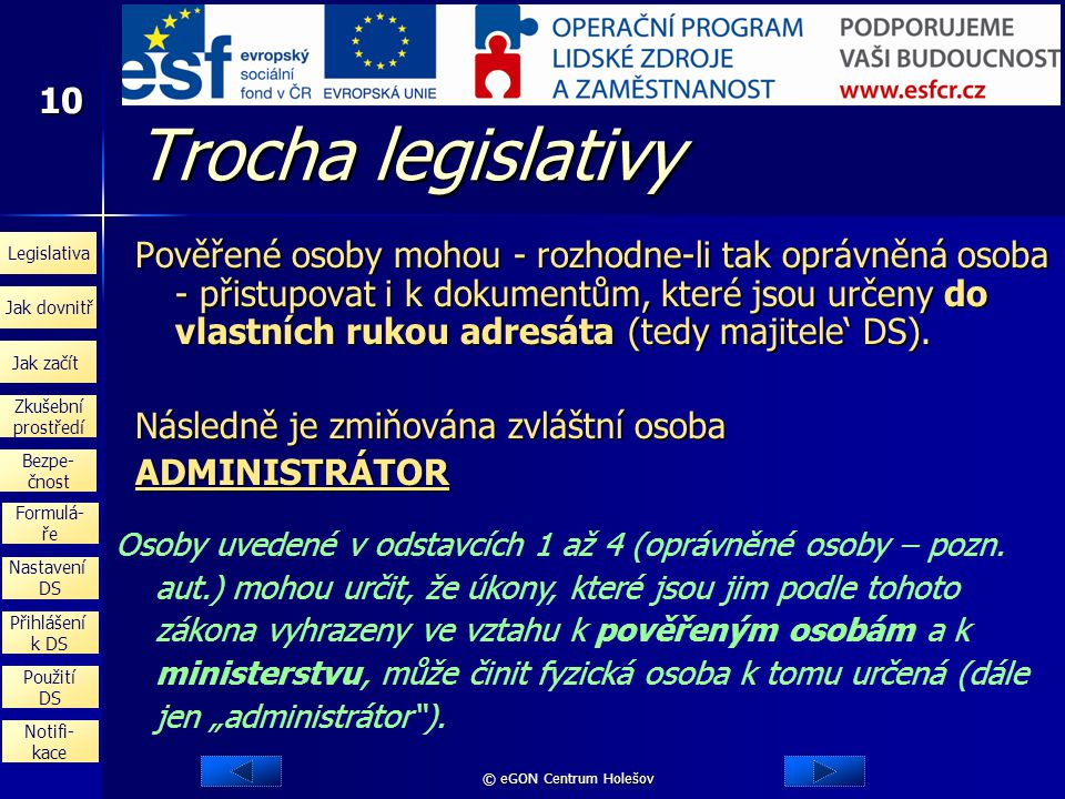 Trocha legislativy