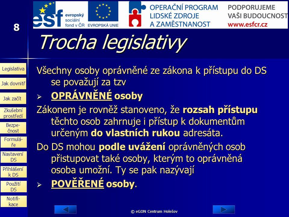 Trocha legislativy Všechny osoby oprávněné ze zákona k přístupu do DS se považují za tzv. OPRÁVNĚNÉ osoby.