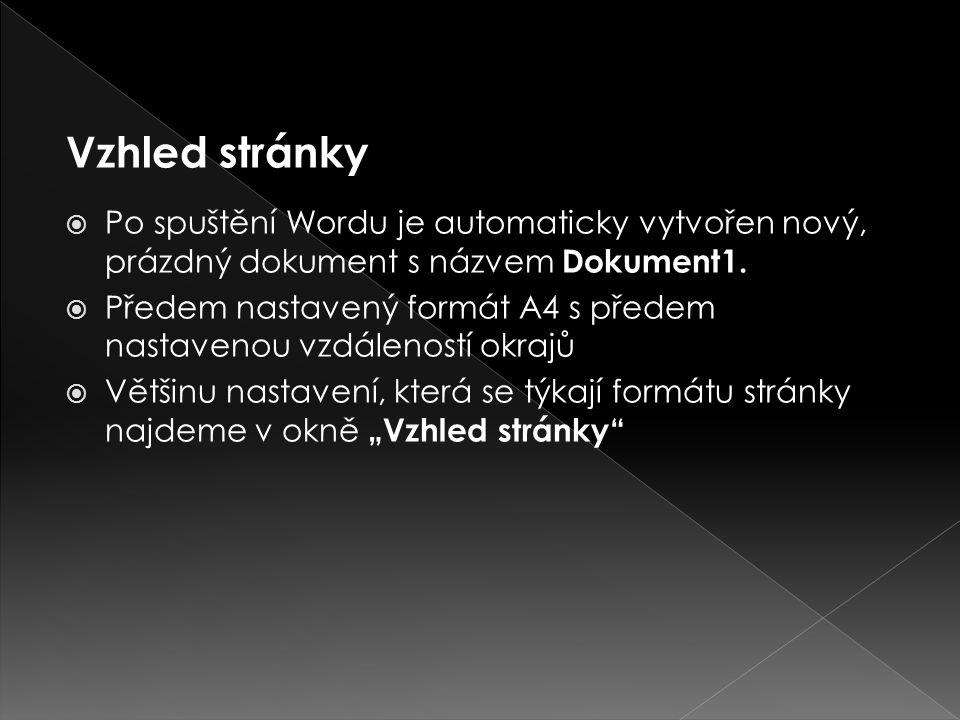 Vzhled stránky Po spuštění Wordu je automaticky vytvořen nový, prázdný dokument s názvem Dokument1.