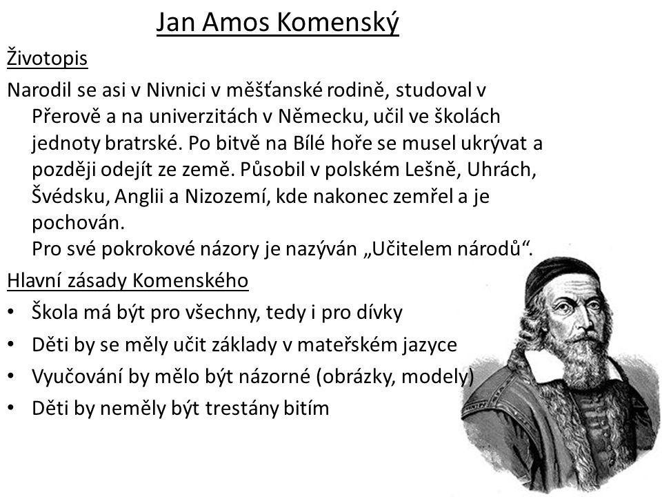 Jan Amos Komenský Životopis