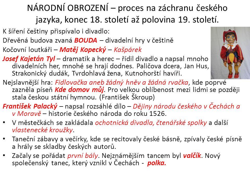 NÁRODNÍ OBROZENÍ – proces na záchranu českého jazyka, konec 18