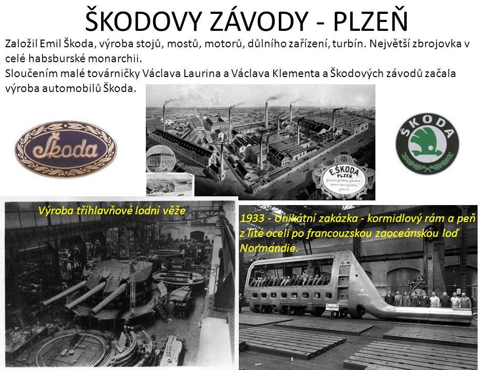 ŠKODOVY ZÁVODY - PLZEŇ Založil Emil Škoda, výroba stojů, mostů, motorů, důlního zařízení, turbín. Největší zbrojovka v celé habsburské monarchii.