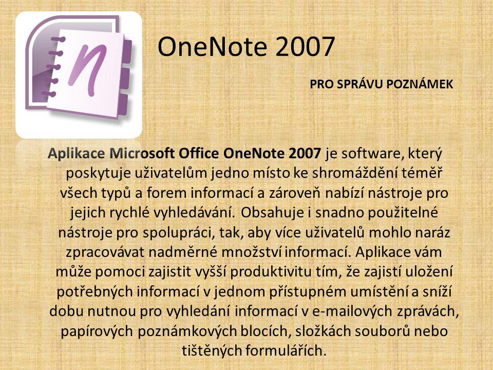 OneNote 2007 PRO SPRÁVU POZNÁMEK.