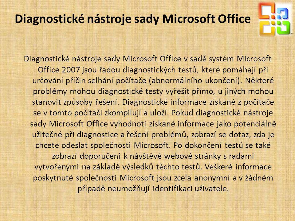 Diagnostické nástroje sady Microsoft Office