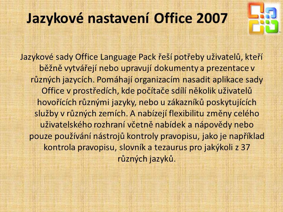 Jazykové nastavení Office 2007