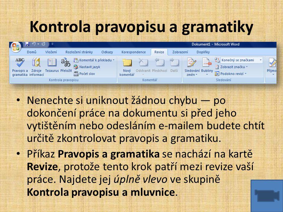 Kontrola pravopisu a gramatiky