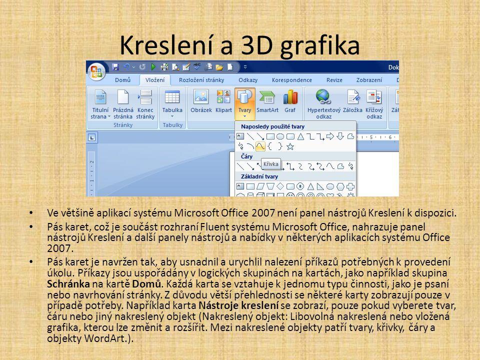 Kreslení a 3D grafika Ve většině aplikací systému Microsoft Office 2007 není panel nástrojů Kreslení k dispozici.
