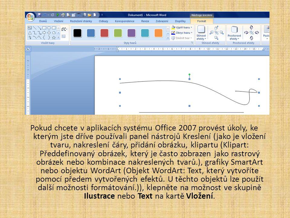 Pokud chcete v aplikacích systému Office 2007 provést úkoly, ke kterým jste dříve používali panel nástrojů Kreslení (jako je vložení tvaru, nakreslení čáry, přidání obrázku, klipartu (Klipart: Předdefinovaný obrázek, který je často zobrazen jako rastrový obrázek nebo kombinace nakreslených tvarů.), grafiky SmartArt nebo objektu WordArt (Objekt WordArt: Text, který vytvoříte pomocí předem vytvořených efektů.