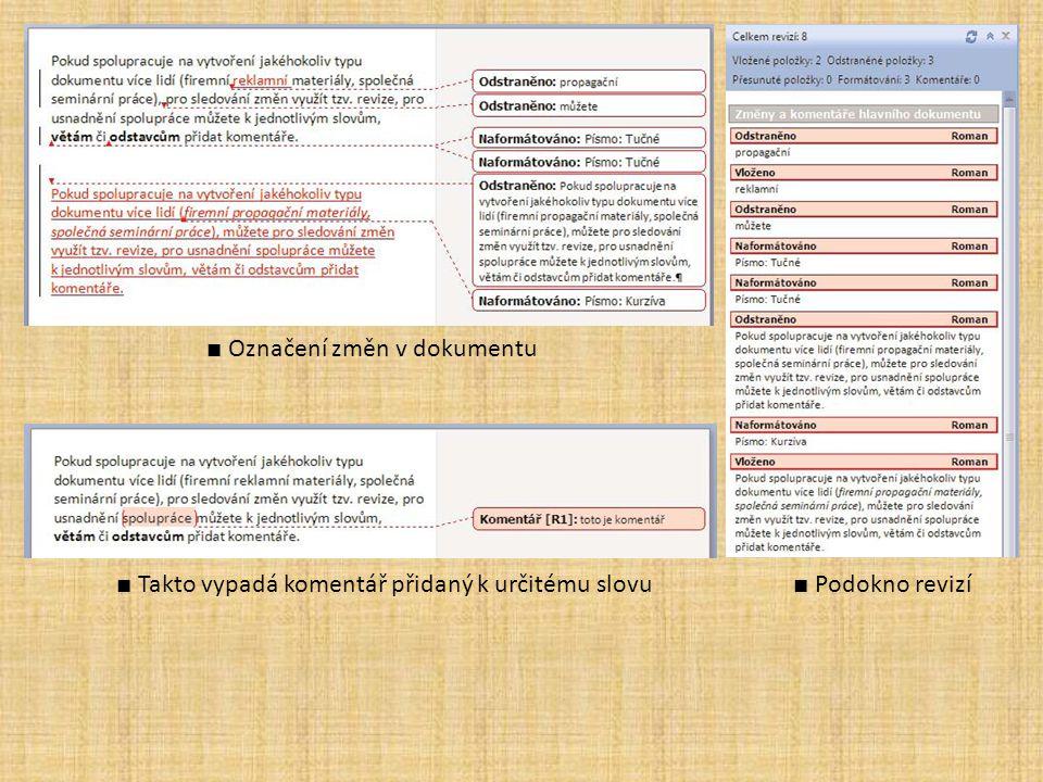 ■ Označení změn v dokumentu