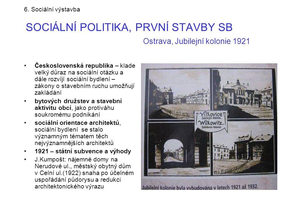 6. Sociální výstavba SOCIÁLNÍ POLITIKA, PRVNÍ STAVBY SB