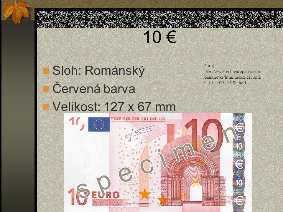 10 € Sloh: Románský Červená barva Velikost: 127 x 67 mm