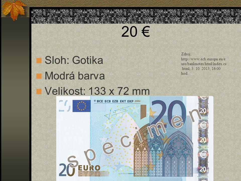 20 € Sloh: Gotika Modrá barva Velikost: 133 x 72 mm