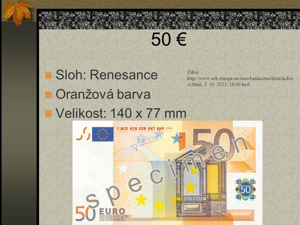 50 € Sloh: Renesance Oranžová barva Velikost: 140 x 77 mm