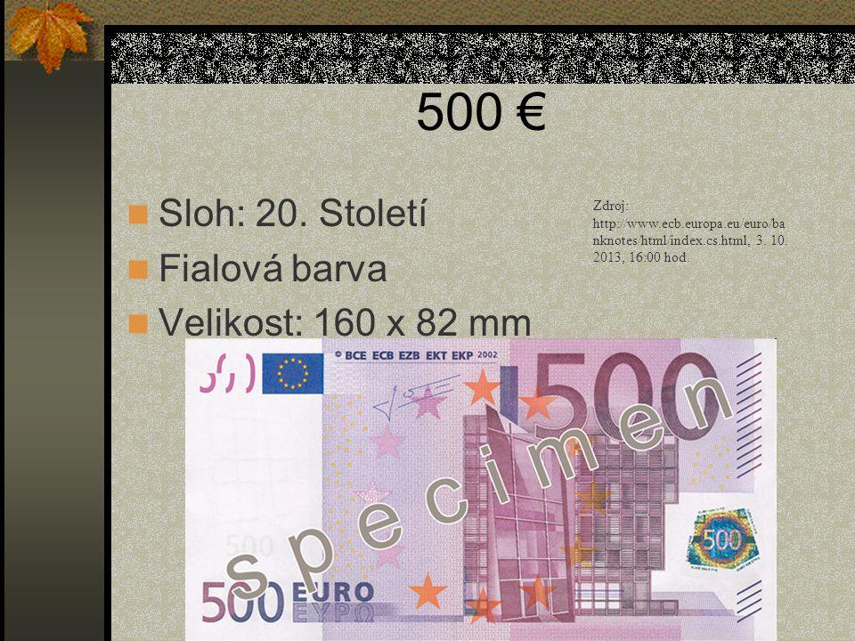 500 € Sloh: 20. Století Fialová barva Velikost: 160 x 82 mm