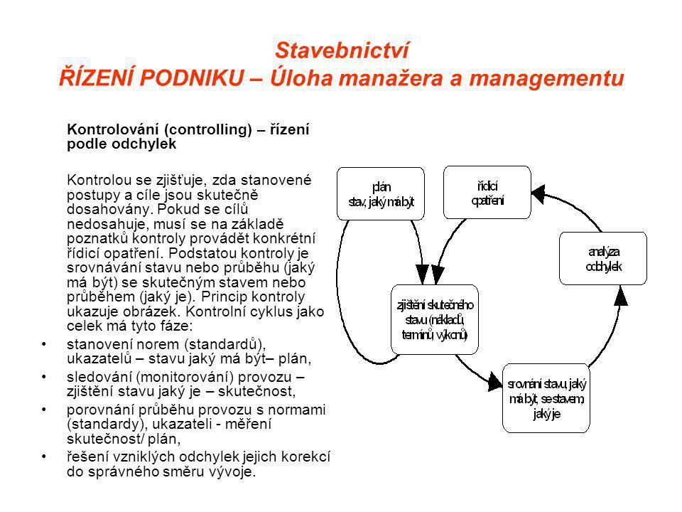 Stavebnictví ŘÍZENÍ PODNIKU – Úloha manažera a managementu