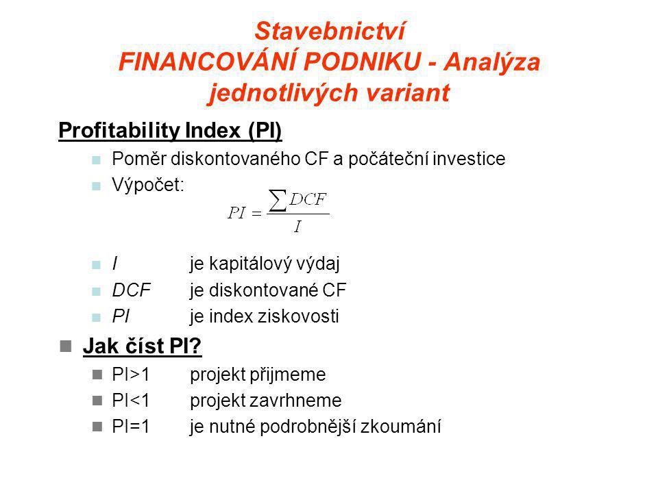Stavebnictví FINANCOVÁNÍ PODNIKU - Analýza jednotlivých variant