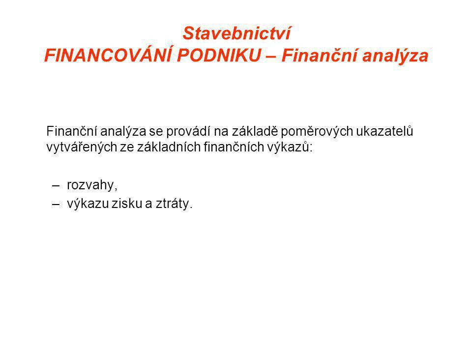 Stavebnictví FINANCOVÁNÍ PODNIKU – Finanční analýza