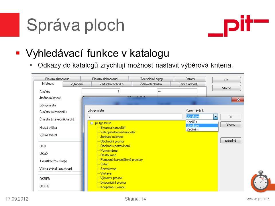 Správa ploch Vyhledávací funkce v katalogu
