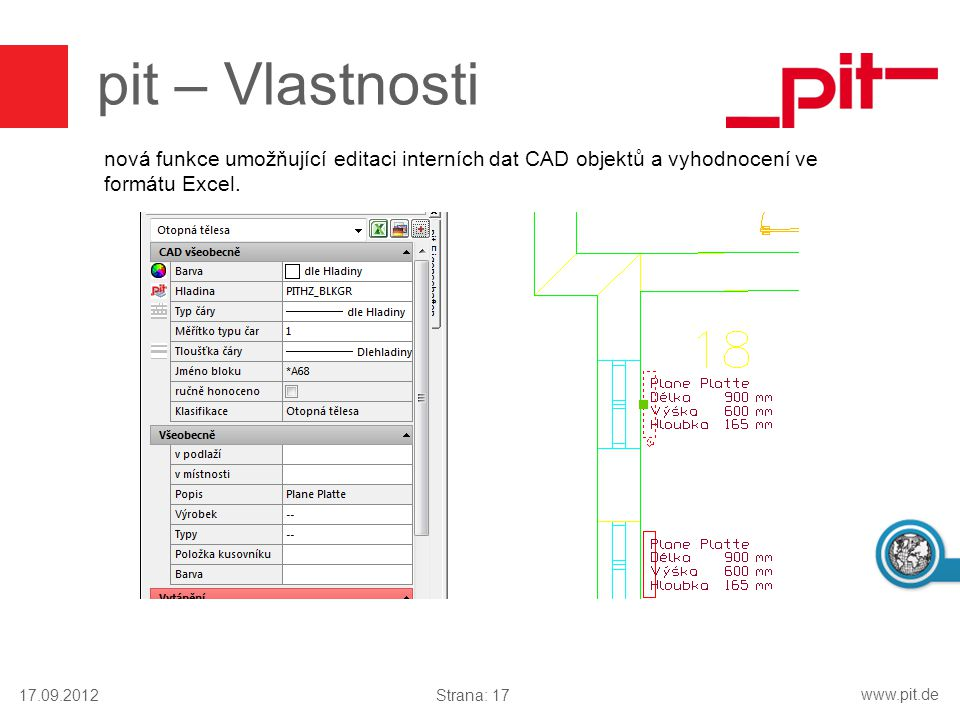 pit – Vlastnosti nová funkce umožňující editaci interních dat CAD objektů a vyhodnocení ve formátu Excel.