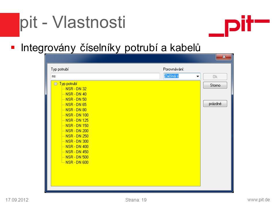 pit - Vlastnosti Integrovány číselníky potrubí a kabelů 17.09.2012