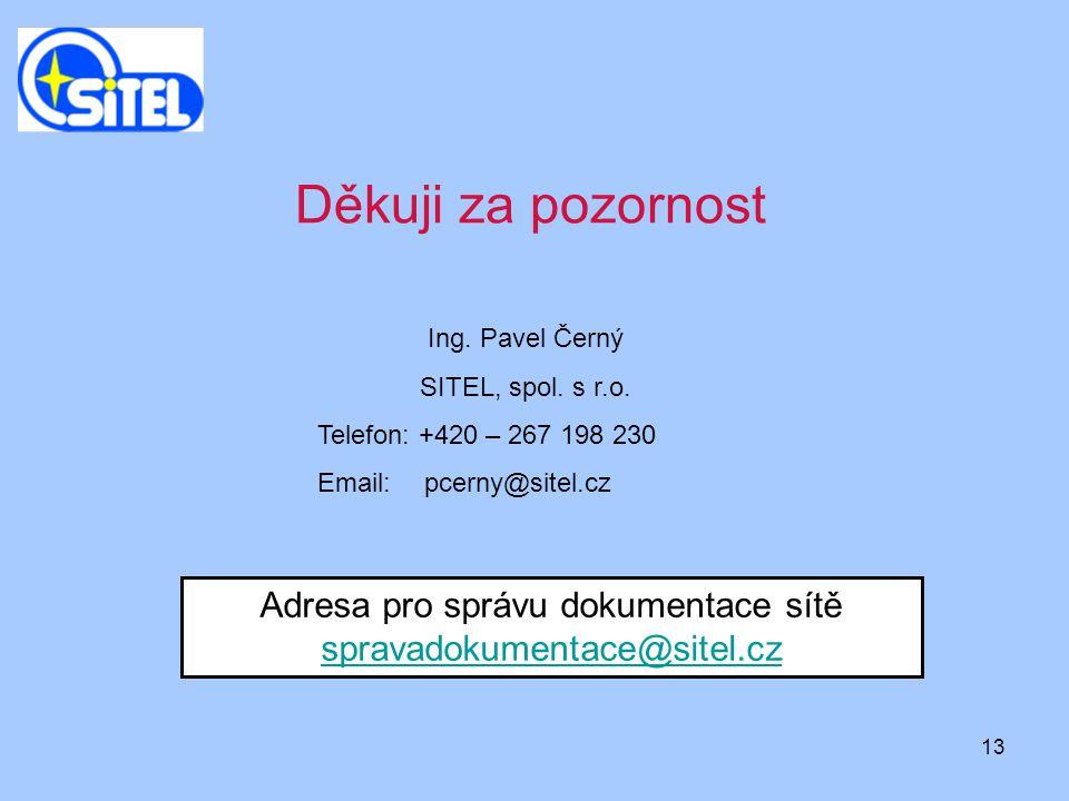 Adresa pro správu dokumentace sítě spravadokumentace@sitel.cz