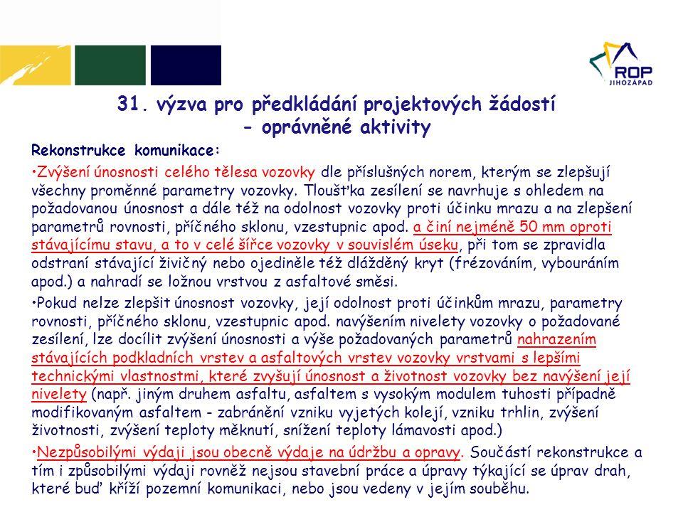 31. výzva pro předkládání projektových žádostí - oprávněné aktivity