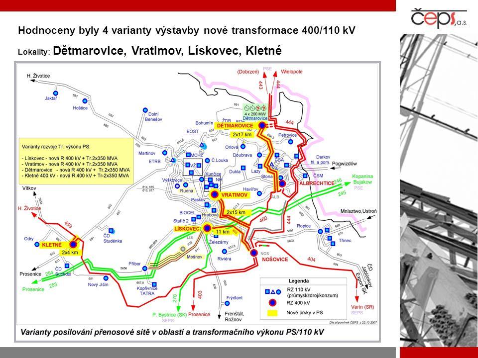 Hodnoceny byly 4 varianty výstavby nové transformace 400/110 kV