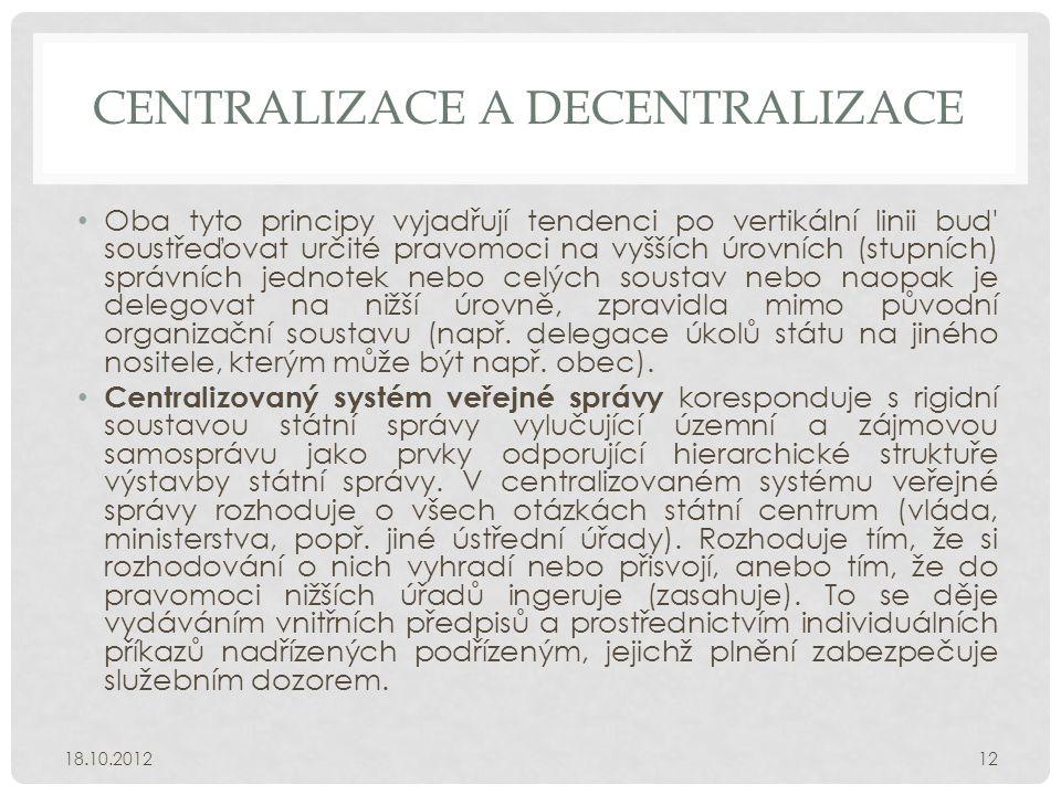 Centralizace a decentralizace